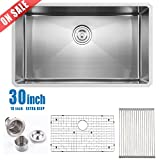 undermount kitchen sinks for sale Comllen Commercial 30 Inch 18 Gauge 10 Inch Deep Handmade Undermount Single Bowl Stainless Steel Kitchen Sinks, Including Dish Drying Rack and Dish Grid Kitchen Sink