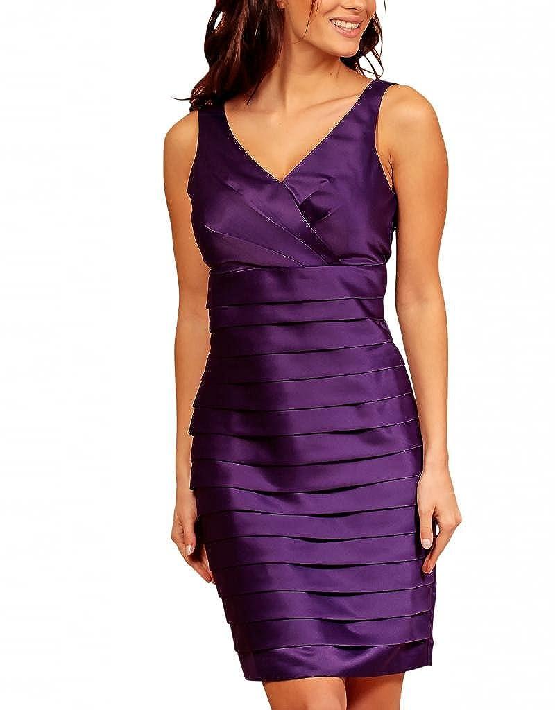 My Evening Dress - Vestido corto satén fiesta coctel capas Morado 44 ...