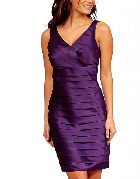 My Evening Dress - Vestido corto satén fiesta coctel capas Morado 44
