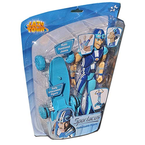 Smiffys Lazy Town Sportacus Collectable Figure & Skateboard with Pull Back Motor -