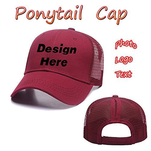 Custom Womens Adjustable Ponytail Cap-100% Cotton Baseball Hat Cool Cap Trucker Hat(Black)