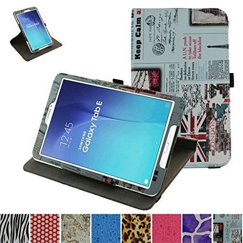 Newspaper Cover (Galaxy Tab E 8.0 Rotating Case,Mama Mouth 360 Degree Rotary Stand With Cute Lovely Pattern Cover For 8.0