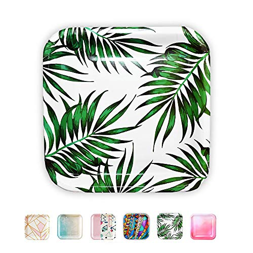 SOLAS Paper Palm Leaf Plates - Fully Compostable Jungle Party Plates | Beautiful Eco Friendly Paper Plates | Square Plates Disposable Green Paper Plates | Pack of 20 | 9 Inch Luau Party Plates