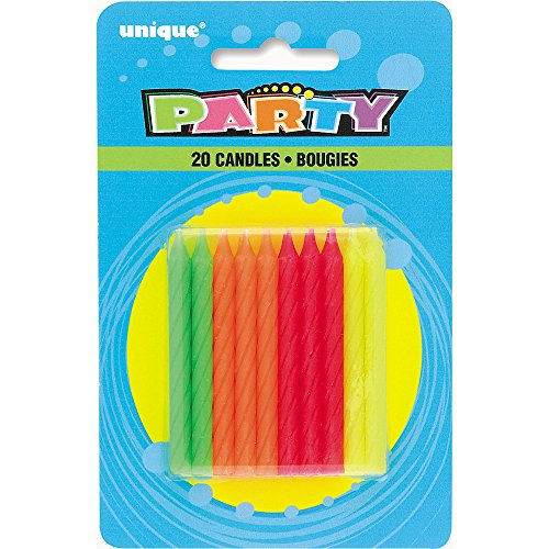Neon Birthday Candles, 20ct -