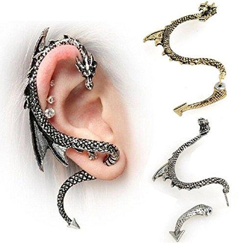 Dragon Ear Cuff - Jiamusi Women Gothic Punk Game of Thrones Stud Ear Cuff Dragon Earring mini Grey one size