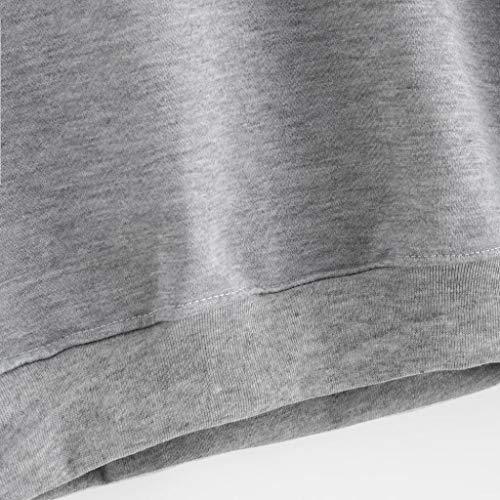 y Blusa para Sudadera calle bordados cuello redondo Otoño con de con manga Deportes manga larga larga traje Invierno Camiseta Sonnena Casual GRIS Mujer apliques hogar de mujer 2 vxqwdzBRv