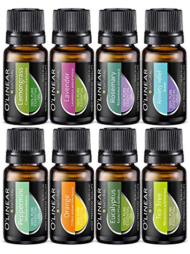 Essential Oil Aromatherapy Set - Pure Therapeutic Grade Oils Lavender, Peppermint, Rosemary, Orange, Tea Tree, Eucalyptus, Lemongrass, Anxiety Relief Blend Kit for Women & Men