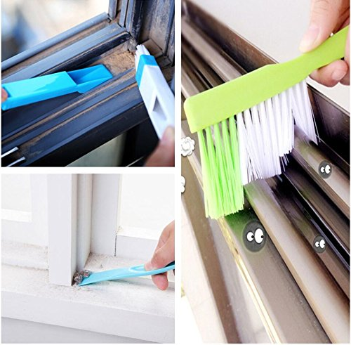 Preffesional Glass Window Track Corner Cleaners Tools Set, 1pc Stage Long-handle Window Groove Gap Cleaning Brush+ 1pc Window Groove Dust Shovel+ 1pc Dirt Scraper Stains Decontamination Squeegees