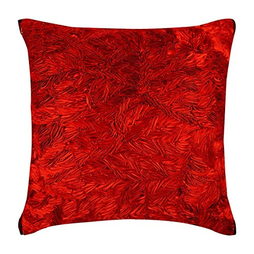 The HomeCentric Handmade Red Decorative Pillow Covers 16x16 inch (40x40 cm), Silk Accent ThrowPillows, Solid Color, Ribbon Embroidery, Modern Cushion CoverCouch - Red Hot Satin Ribbon
