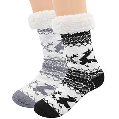 Hippih 2 Pairs Super Soft Cozy Fuzzy Winter Slipper Socks