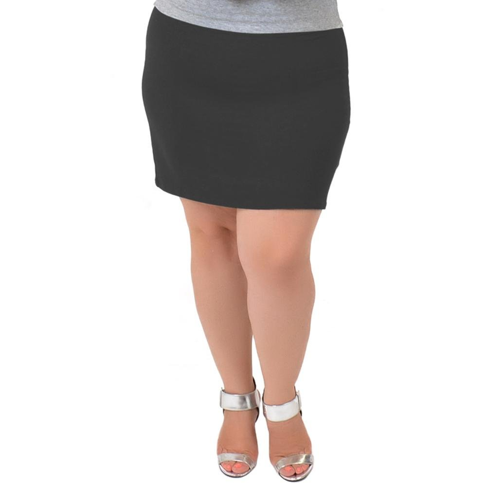 Stretch is Comfort Women's Comfortable Cotton Mini Skirt Charcoal Gray Large