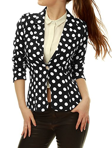 Allegra K Ladies Peaked Lapel All Over Dots Pads Shoulder Lining Elegant, Black/White, M (US 10) (Peaked Lapel Jacket)
