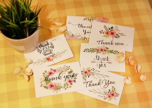Thank You Cards Floral Flower Greeting Cards - 48 Assorted Bulk Box, 6 Design Blank Inside 4 x 6 inch- Brown Craft Envelopes Included Photo #5