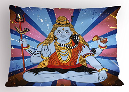 Ambesonne Ethnic Pillow Sham, Asian Figure Grunge Background Meditation Belief Asian Zen Theme Graphic Print, Decorative Standard Size Printed Pillowcase, 26 X 20 Inches, Blue Dark Coral by Ambesonne