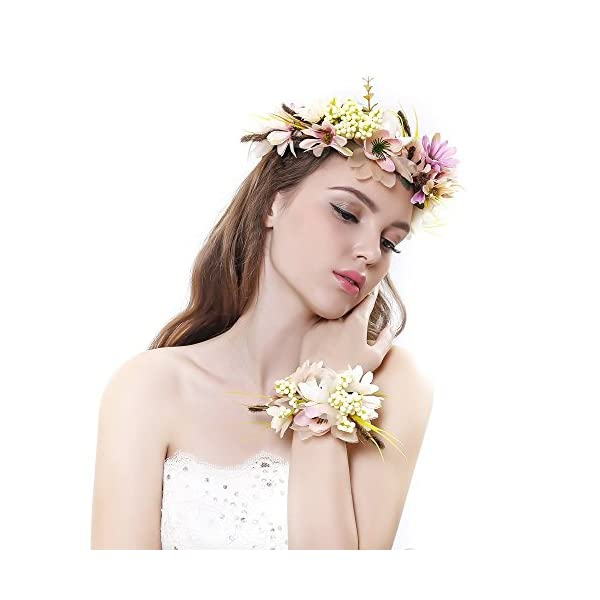 Ever Fairy Women Flower Wreath Crown Floral Wedding Garland Headband Wrist Band Set