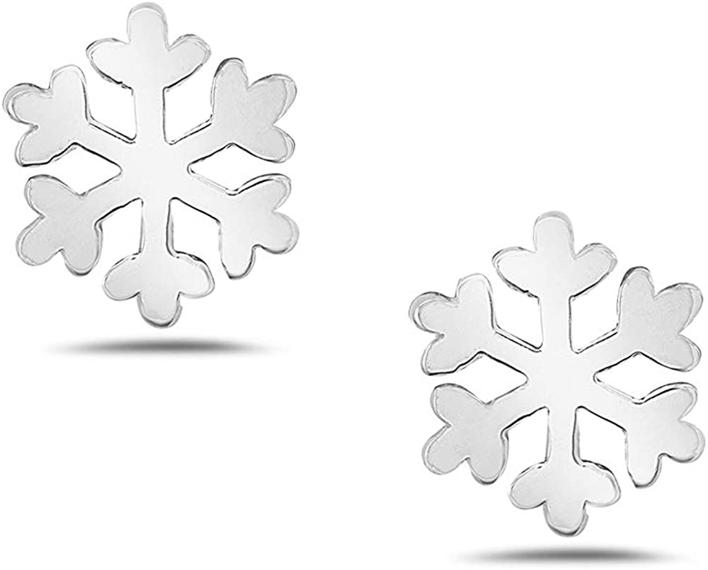 Gift for Her Dainty Studs,E17 Minimalist Studs Film Frozen Stud Feminine Studs Sterling Silver Studs Tiny Snowflake Studs Modern Stud