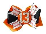 Orange/Black - or Choose Your Team Colors - Glitter Baseball Hair Bow