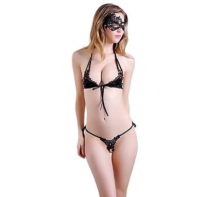 5fcb5499caa7 Women Lingerie, Lace Nightwear Lingerie Set Sleepwear Underwear G-String  Bra Nightwear Suit Temptation Underwear Set (Black): Amazon.co.uk: Clothing