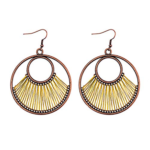 Opeof Earrings Bohemia Circular Line Fan Ear Hooks Statement Women Earrings Party Jewelry Gift - Army Green