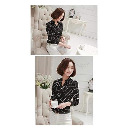 3b986729 FidgetGear Women Summer Chiffon Work Wear Button Down Shirt Office Blouse  Casual White Tops Black S: Amazon.in: Home & Kitchen