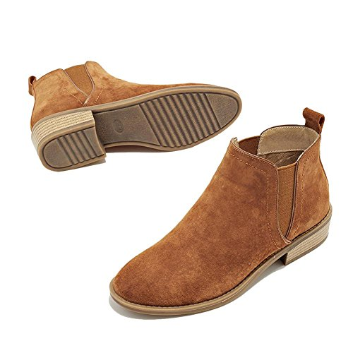 wdjjjnnnv Ladies Short Ankle Boots Leather Suede Flat Heels Warm Casual Comfort Elastic Shoes BROWN-37 S3gmquGMt