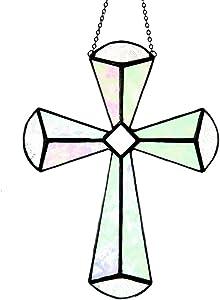 Cross Suncatcher Stained Glass Ornament Hanging Window Decor Easter Gift for CNA Nurse J Devlin ORN 180