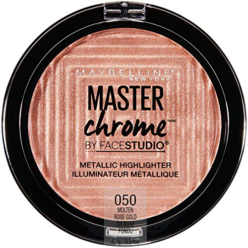 Maybelline New York Facestudio Master Chrome Metallic Highlighter Makeup, Molten Rose Gold, 0.24 oz. (Gold Shimmer Powder Brush)