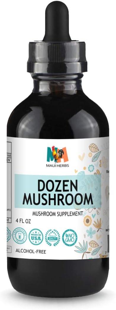 Dozen Mushroom Immune Support Tincture 4 fl oz Alcohol-Free Extract Agaricu