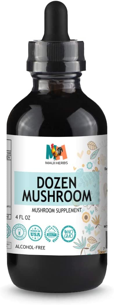Dozen Mushroom Immune Support Tincture 4 fl oz Alcohol-Free Extract Agaricus, Chaga, Maitake, Reishi, Cordyceps, Enokitake, Mesima, Turkey Tails, Lion s Mane, Agarikon, Shiitake, Artist s Conk