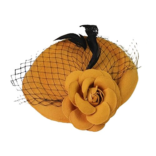 Funbase Girls Rose Flower Wool Top Cap Hat Lace Fascinator Hair Clip Accessory (Hat Lace Wool)