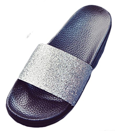 NEWZCERS - Sandalias de vestir de Caucho para mujer plata
