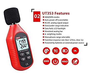 Self-Calibration Noise Meter Mini Decibel Meter Digital Sound Level Meter Handheld Sound db Meter 30-130dB Noise Sound Measure Device with Backlight Max//Min//Data Hold Normal A Fast//Slow Mode