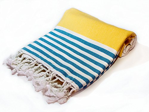 Natural Turkish Cotton Yellow Turquoise