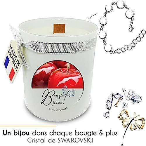 Bougie Bijoux Pomme d'Amour AG Artgosse, CADEAU surprise éléments Cristal de Swarovski pour femme, ambiance de fête d'anniversaire, Coffret Bracelet.