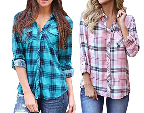 Grace Elbe Women's Pack of 2 Collared Long Sleeve Plaid Shirt Blue/Pink Small