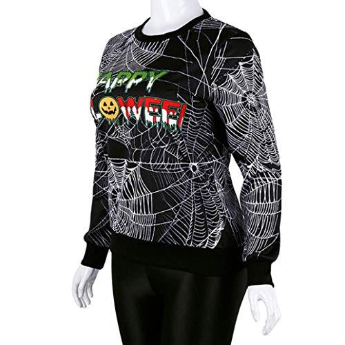 Amazon.com: FimKaul Cobweb Print Halloween Sweatshirt Women Crew Neck Long Sleeve Funny Easy Halloween Costume Tshirt Tee: Sports & Outdoors