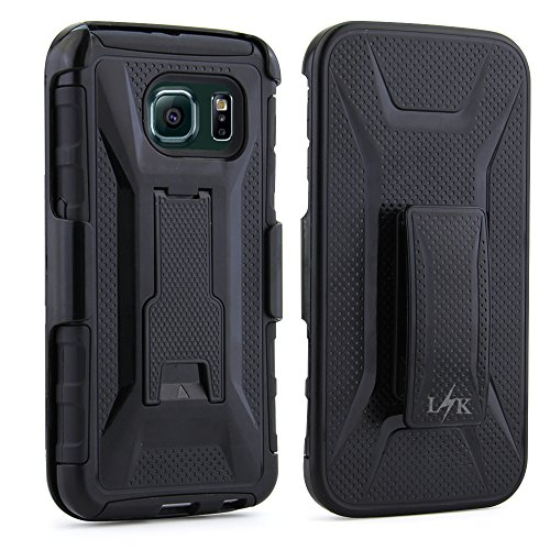 S6 Edge Case, LK Transformer Holster Dual Layer Armor Defender Full Body Protective Case Cover with Belt Clip & Kickstand for Samsung Galaxy S6 Edge