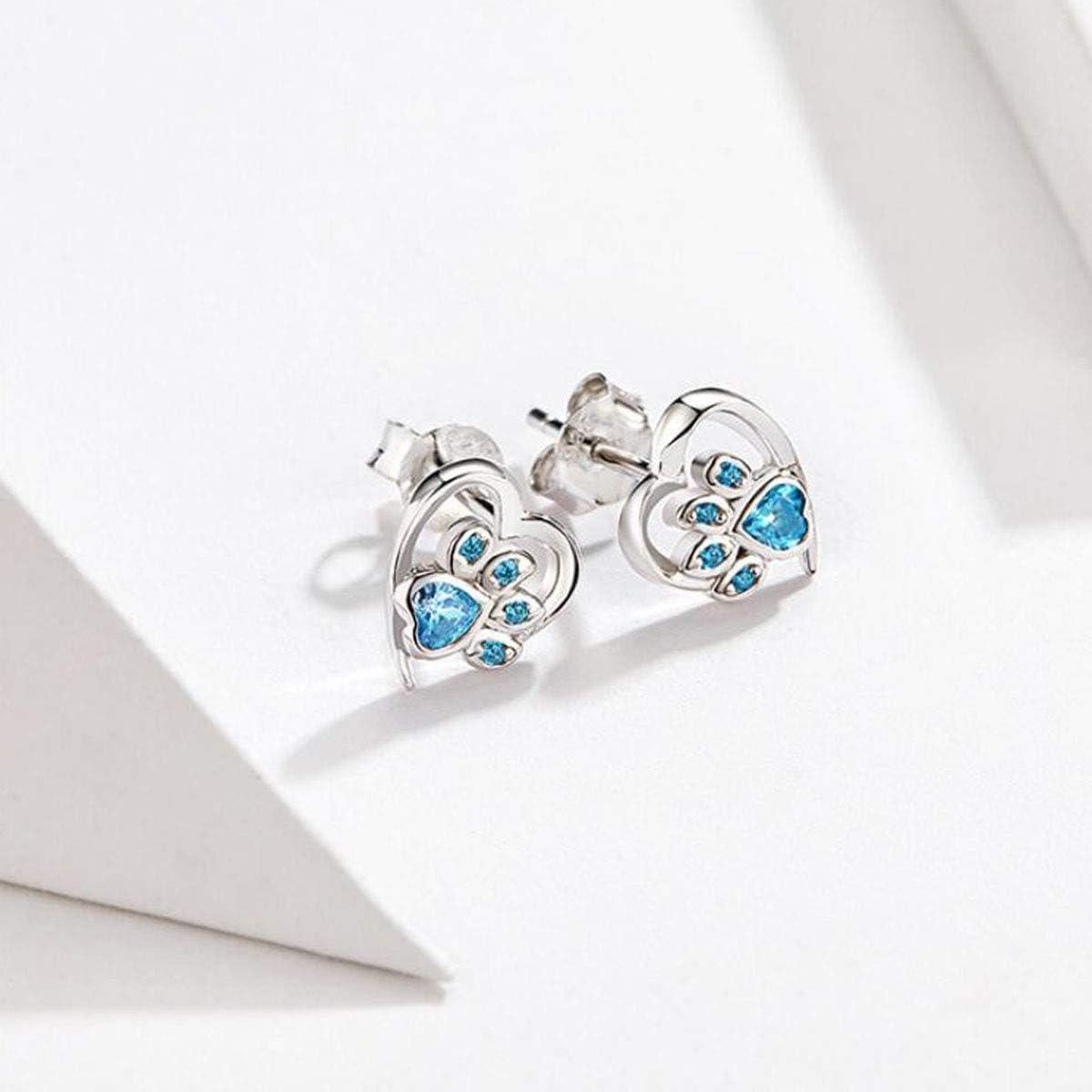 MEETCCY Unicorn Stud Earrings Sterling Silver Cubic Zirconia Stud Earrings Animal Owl Fruit Charm Star CZ Small Silver Stud Earrings for Girls Women Fashion Jewelry Earrings