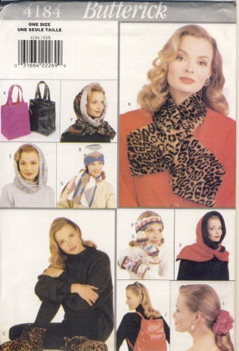 Butterick Sewing Pattern 4184 - Use to Make - Misses Gift Accessories - Booties, Mittens, Ponytail Holder, Bags, Scarf, Hood, Headband (Headband Tail Scarf)