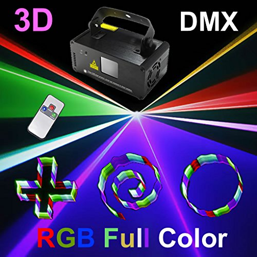 Mini 3D RGB Full Color Gobos Remote DMX 8 CH Stage Lighting DJ Dance Party Home Show Projector Lights 3D-F400 by JE
