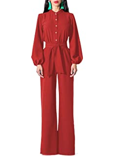 6af1a9ace1e Paitluc Women Sexy V Neck Long Sleeve Wrap Top Wide Leg Jumpsuits Rompers