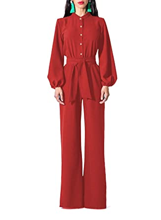 7d83065b2245 Paitluc Women Sexy V-Neck Lantern Sleeve Belted Wide Leg Long Pant Formal  Red Jumpsuits