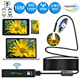 Wireless Endoscope,Unee1 Updated 1200P WiFi Borescope Inspection Camera With 2.0 Megapixels 1200P HD Snake Camera For Iphone and Android Smartphone,Table,Ipad,PC - Black(32.8FT/10M)