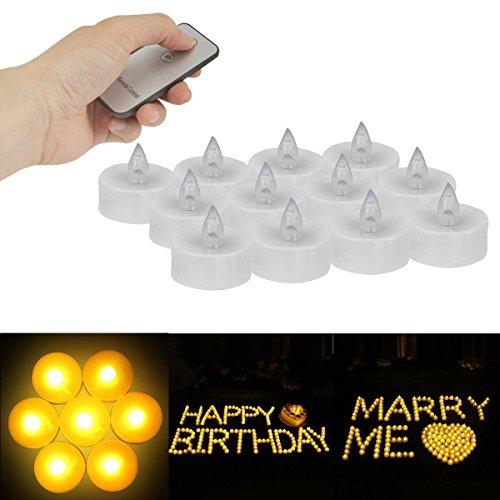 (MAZIMARK--12Pcs Set Remote Controlled Electronic Tea Lights LED Flameless Candles)