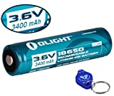 Olight 3400mAh Protected Button Top Rechargeable 18650 Battery for Olight M22 M20S M1X M20X LED Flashlights and More