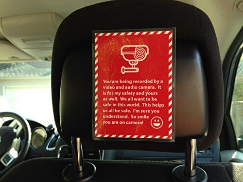 (Set of 2) Uber Lyft Headrest Tips Audio/Video Decal Sign Rideshare Car Display Cards