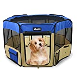 Jespet 61'' Blue Color Dog/Cat/Rabbit/Puppy Pet Playpen 30'' Height Soft Sided Playpen Exercise Tent Fence Cage Crate