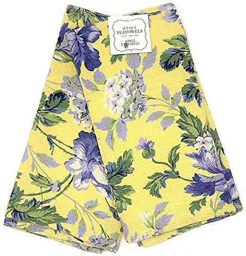April Cornell Set of 2 Floral Tea Towels 100% Cotton 19