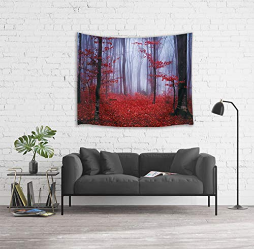 LB Nature Tapestry Wall Hanging Enchanted Autumn Forest in Foggy with Maple Leaf Misty Fall Scenery, 3D Tapestry for Bedroom Living Room Dorm Home Decor, 60 x 40 Inches by LB (Image #1)