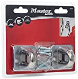 Master Lock LKM82222 x Wall/Floor Anchors Cable/Chain/Padlock Diameters up to 14 mm with Fixings, Silver, 53 mm